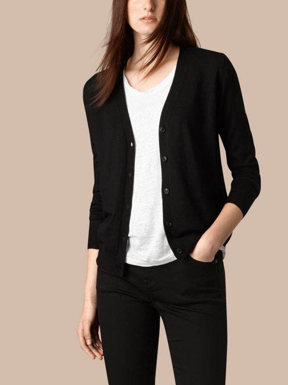Check Detail Merino Wool Cardigan Black - cell image 3