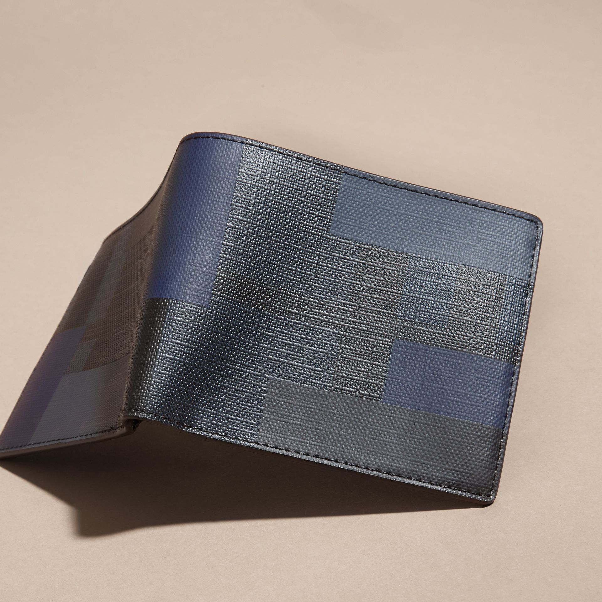 Navy/geometric Colour Block and London Check Folding Wallet - gallery image 3
