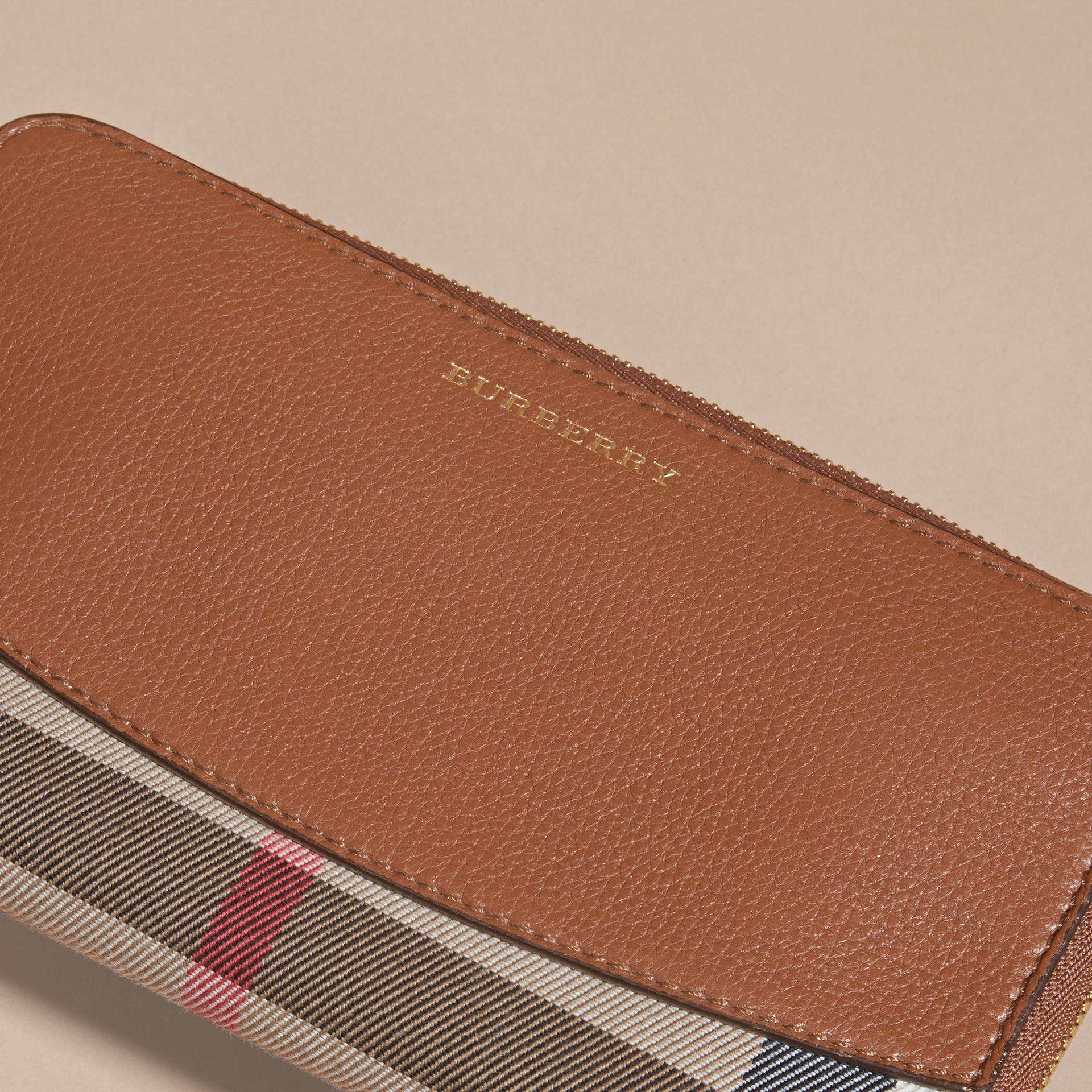 House Check and Leather Ziparound Wallet Brown Ochre - gallery image 4