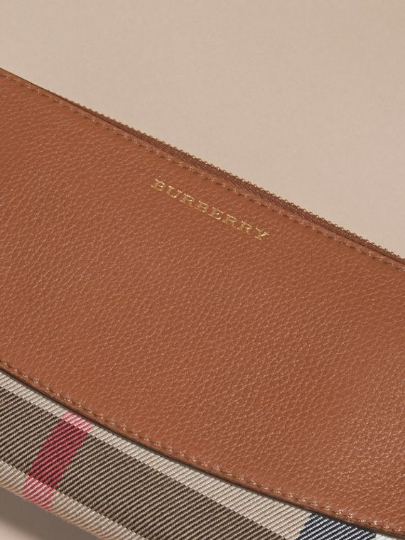 House Check and Leather Ziparound Wallet in Brown Ochre - cell image 3