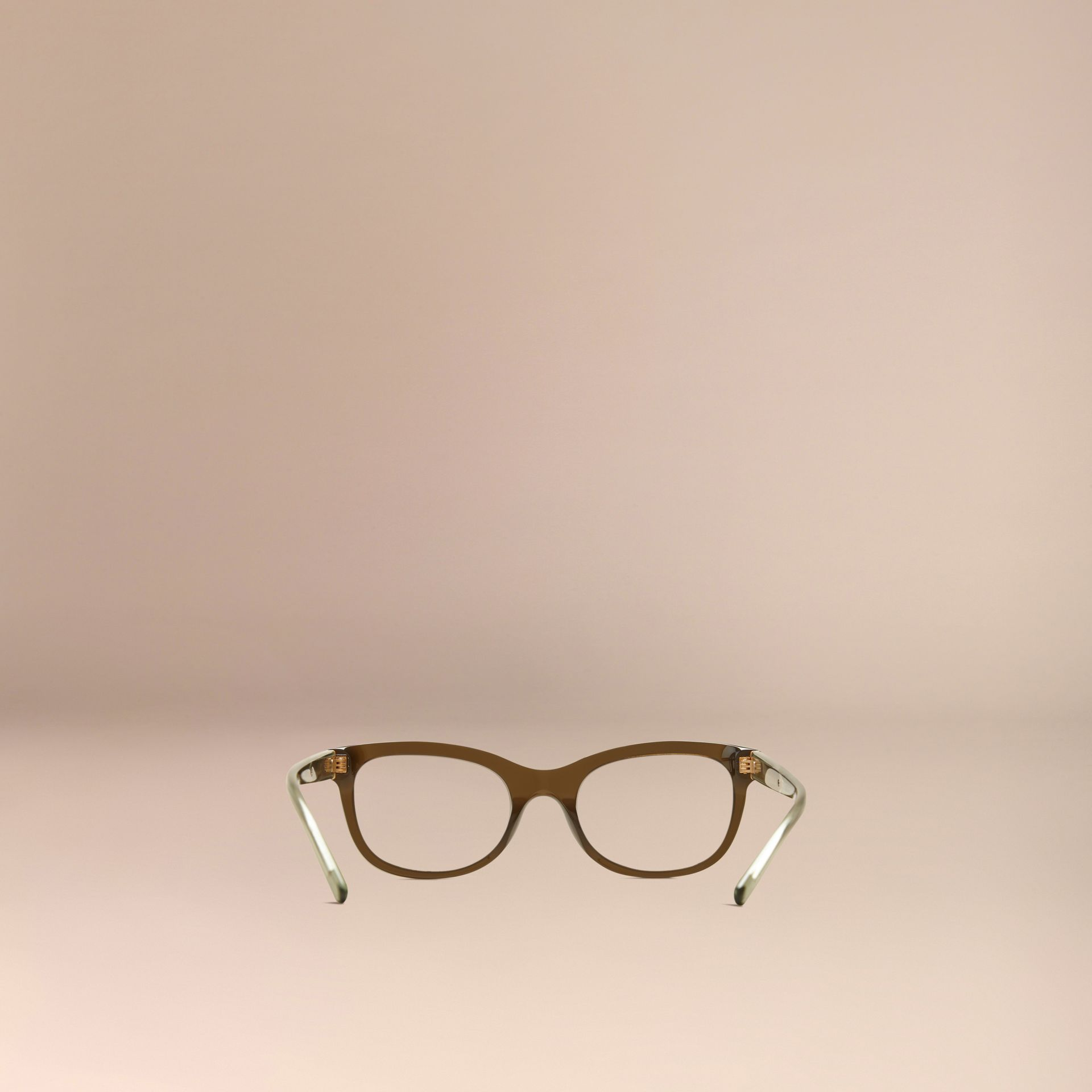 Olive Check Detail Oval Optical Frames Olive - gallery image 3