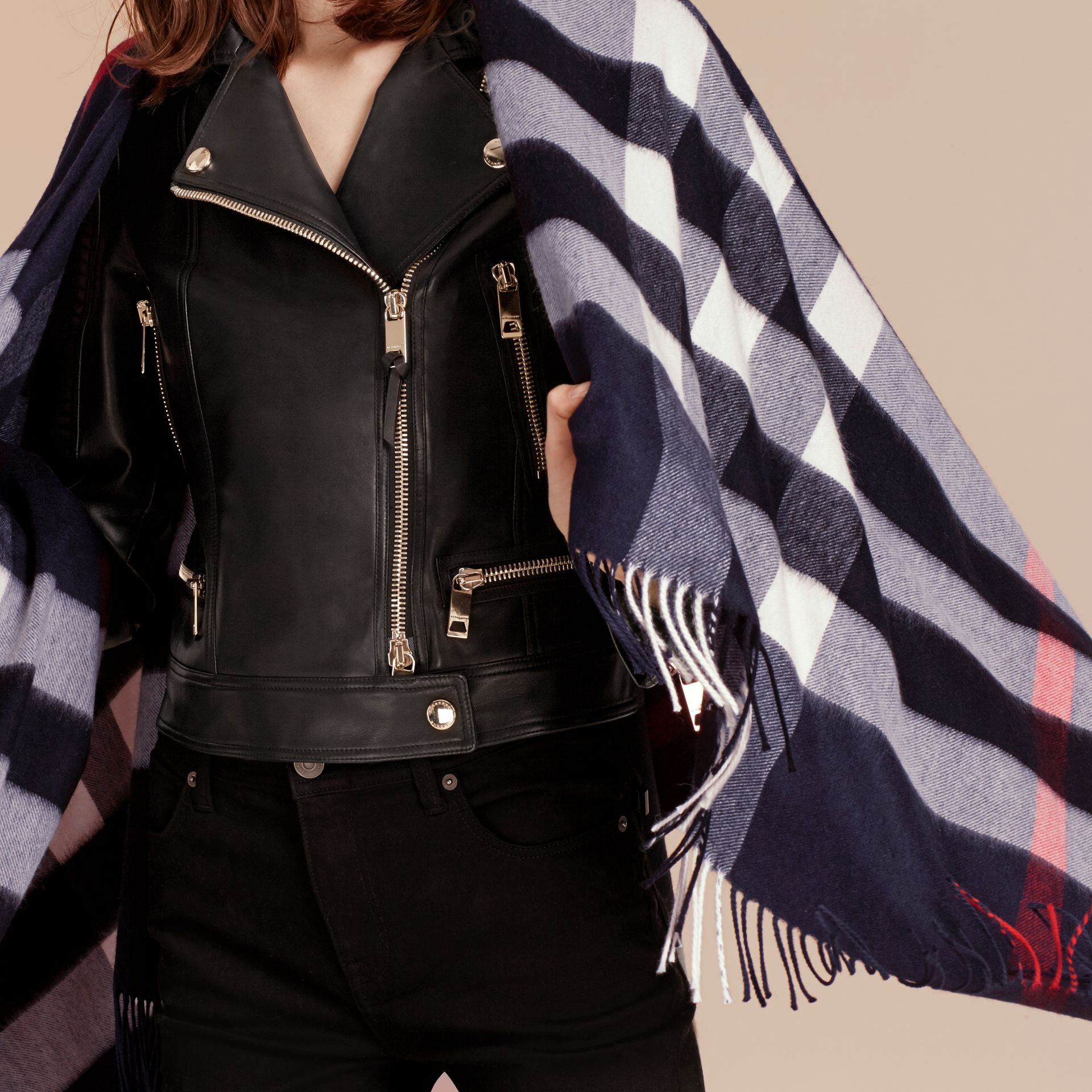 Check Cashmere and Wool Poncho in Navy - Women | Burberry Canada - gallery image 6