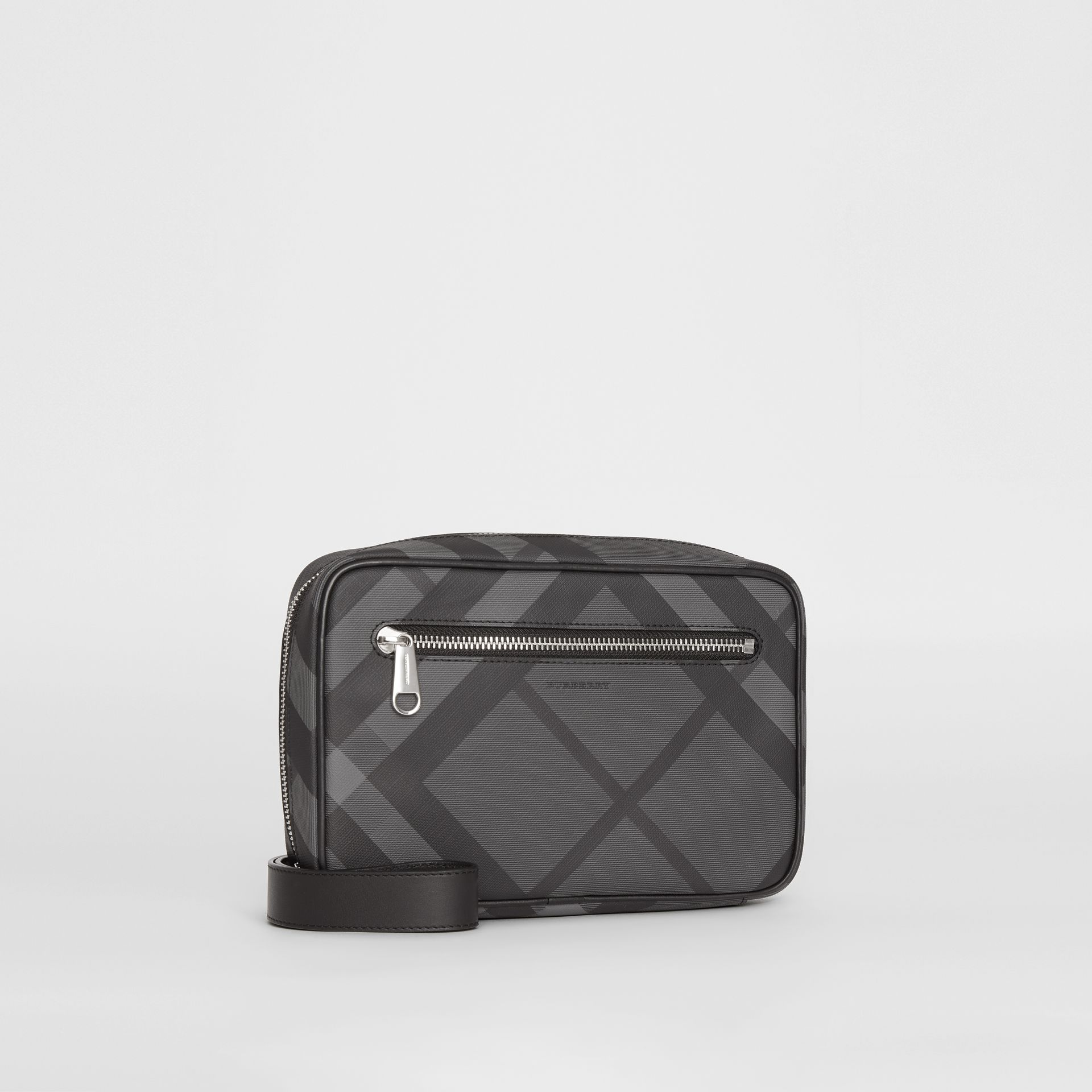 London Check Travel Pouch in Charcoal/black - Men | Burberry - gallery image 6