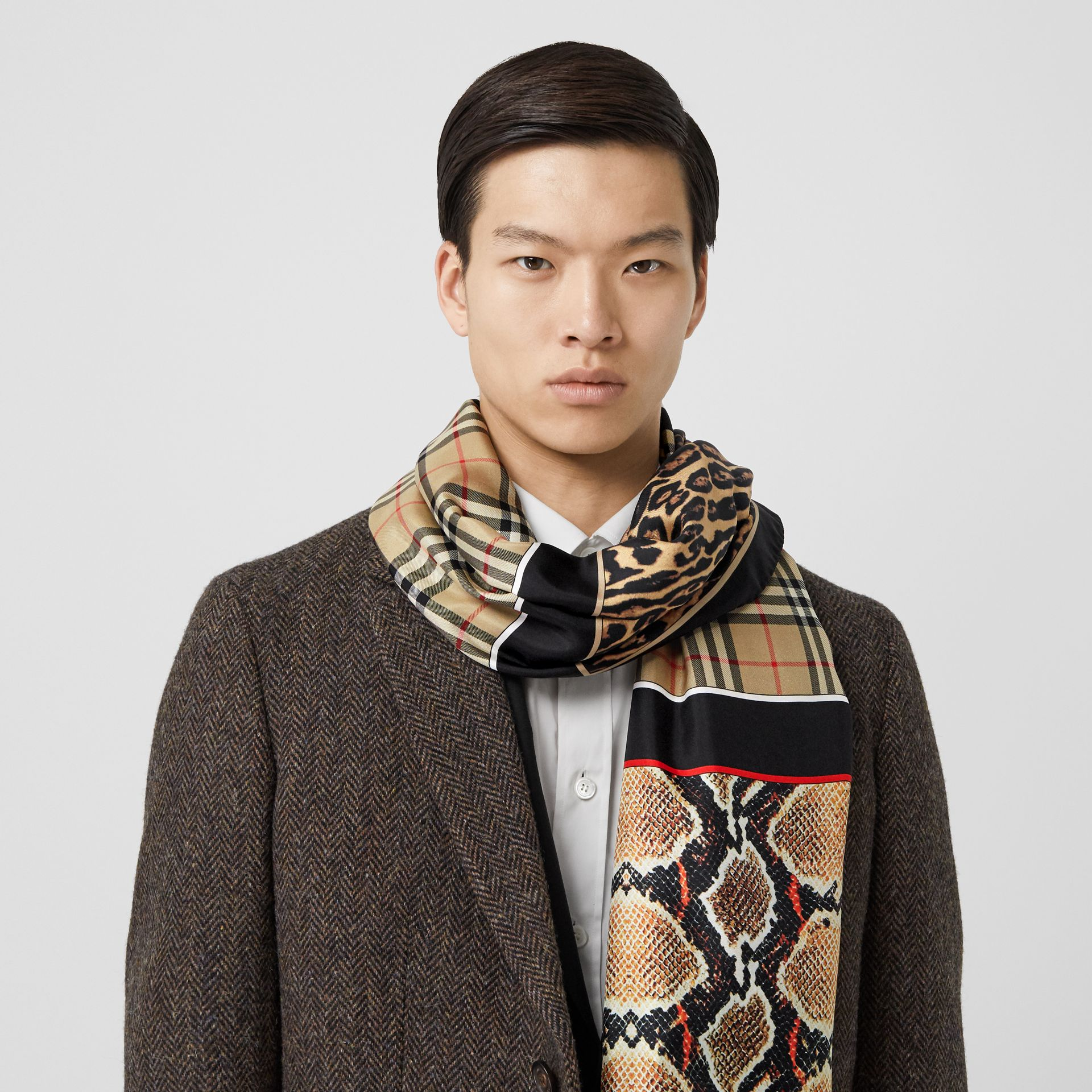 Montage and Logo Print Silk Scarf in Archive Beige | Burberry Hong Kong S.A.R - gallery image 3