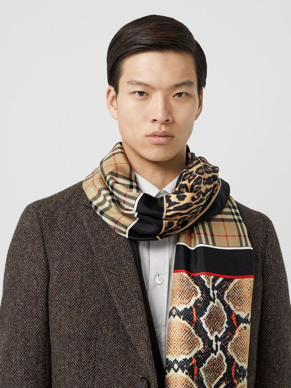 Montage and Logo Print Silk Scarf in Archive Beige | Burberry Hong Kong S.A.R - cell image 3