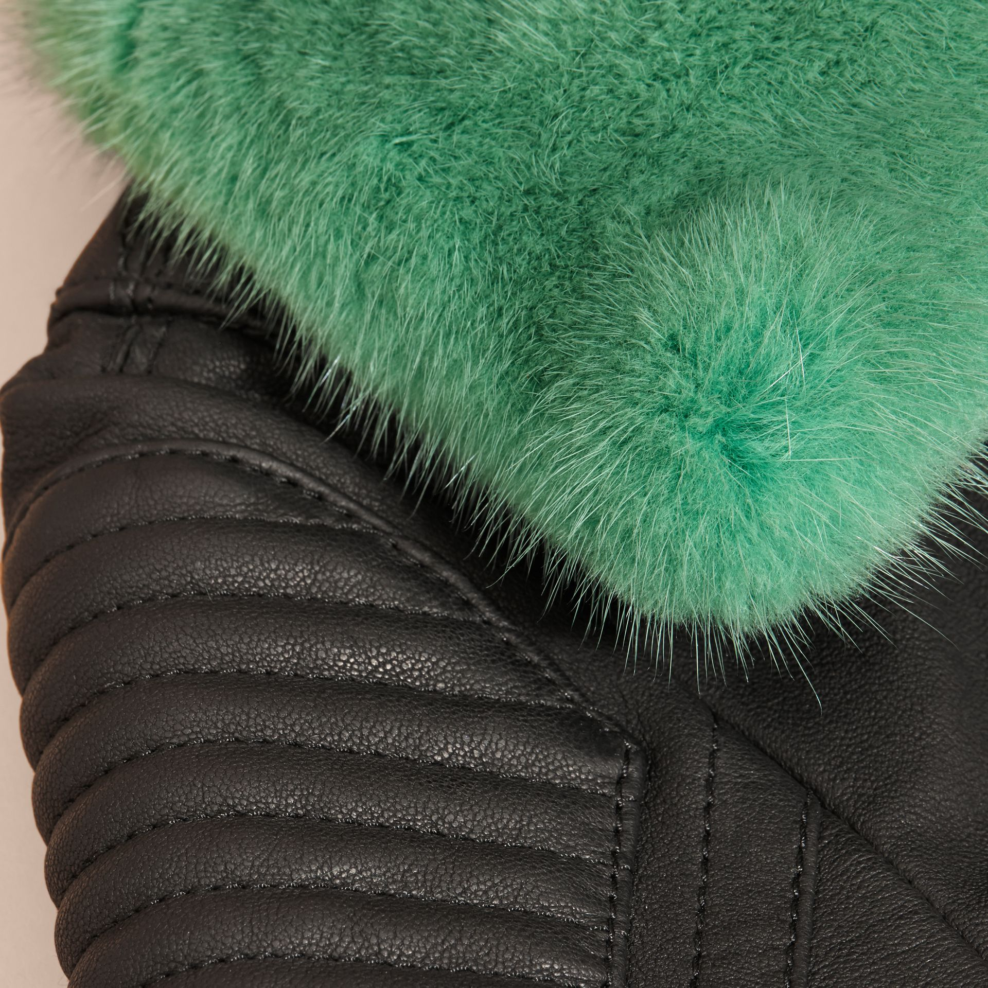 Black Lambskin Biker Jacket with Detachable Mink Collar - gallery image 2