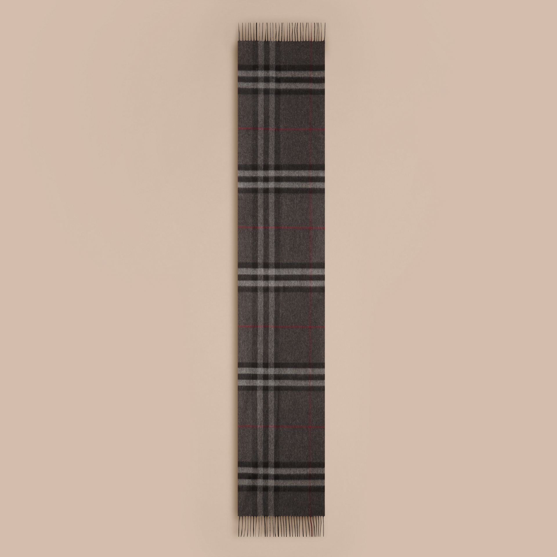 Charcoal check The Classic Cashmere Scarf in Check Charcoal - gallery image 6