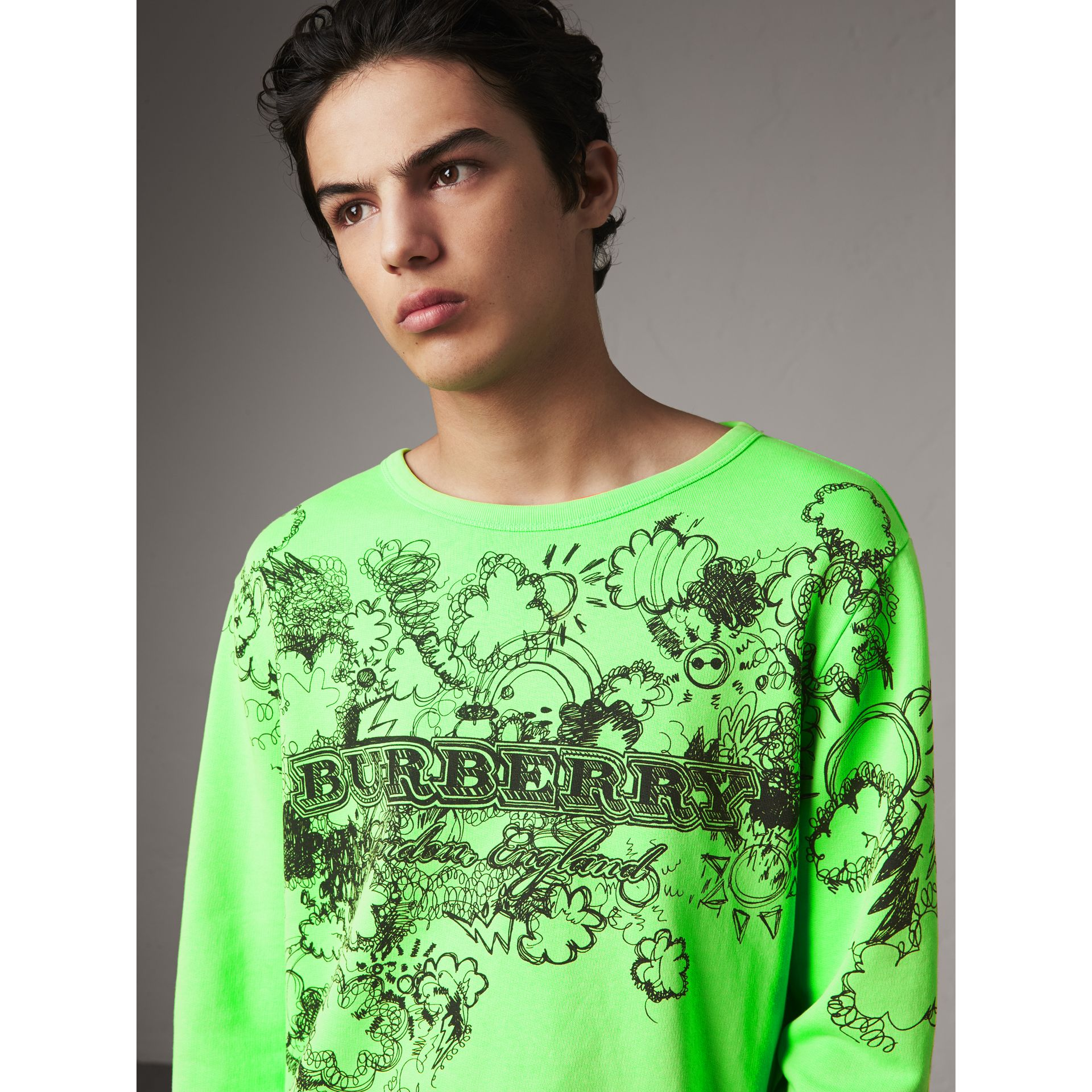 Doodle Print Cotton Sweatshirt in Bright Apple Green - Men | Burberry - gallery image 1