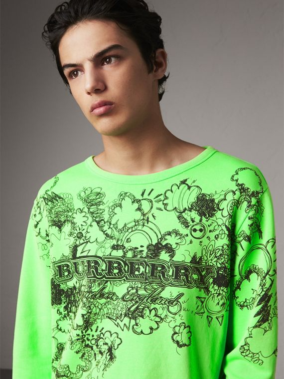Doodle Print Cotton Sweatshirt in Bright Apple Green