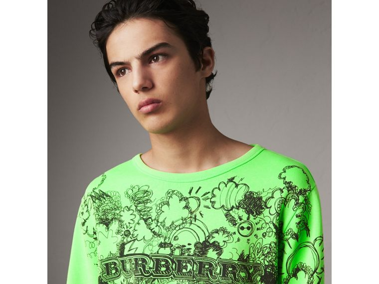 Doodle Print Cotton Sweatshirt in Bright Apple Green - Men | Burberry - cell image 1