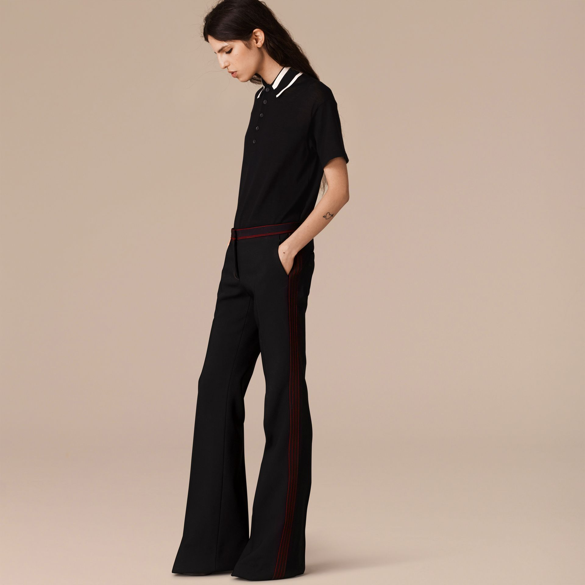 Black Stretch Boot-cut Trousers - gallery image 4