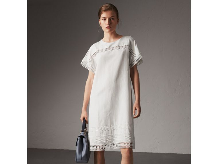 Macramé Lace Detail Silk Linen Cotton Dress - Women | Burberry - cell image 4