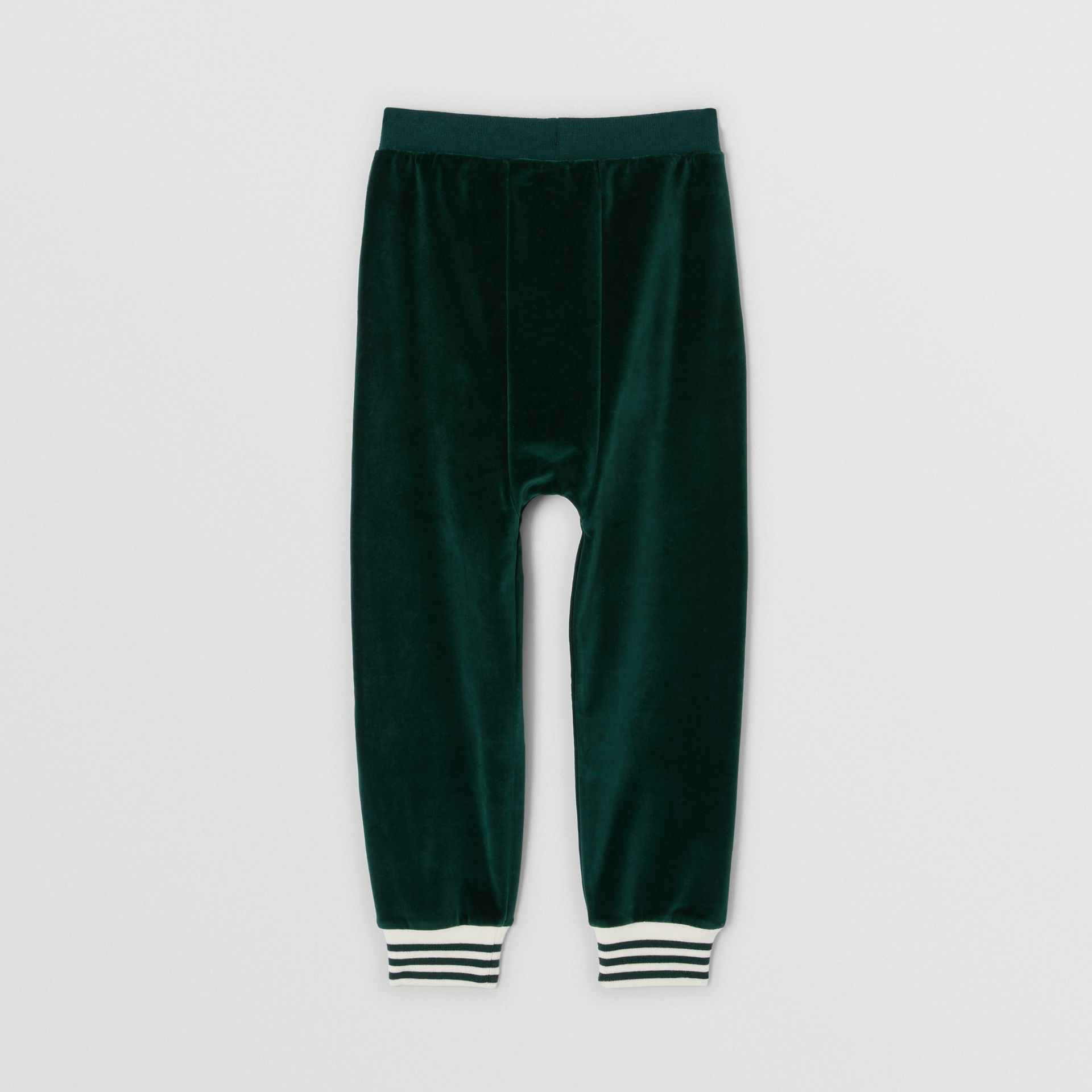 Stripe Trim Velour Trackpants in Dark Pine Green | Burberry - gallery image 3