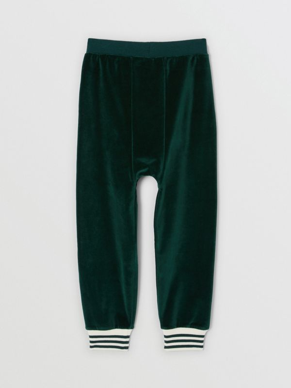 Stripe Trim Velour Trackpants in Dark Pine Green | Burberry Canada - cell image 3