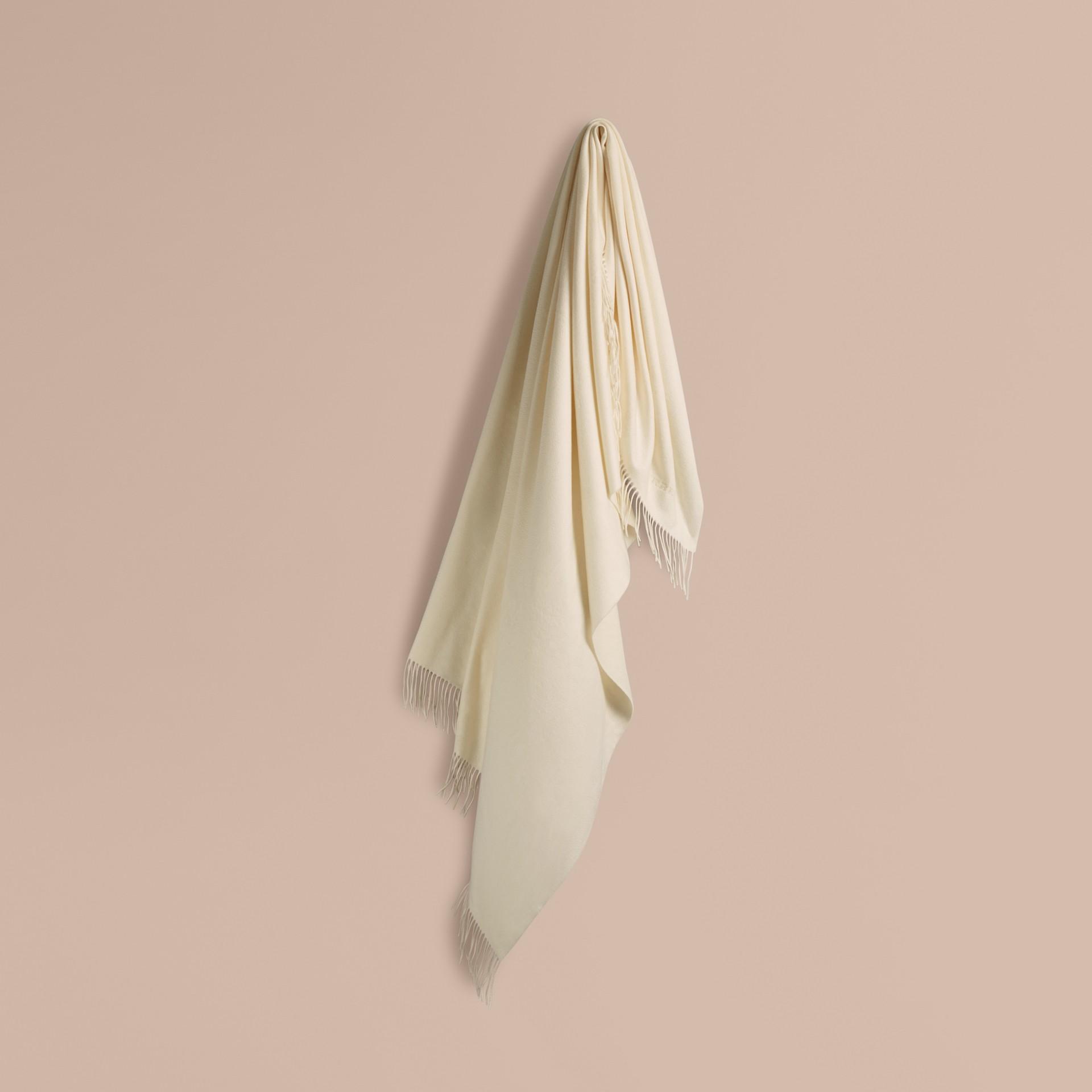 Blanc naturel Couverture en cachemire Blanc Naturel - photo de la galerie 1