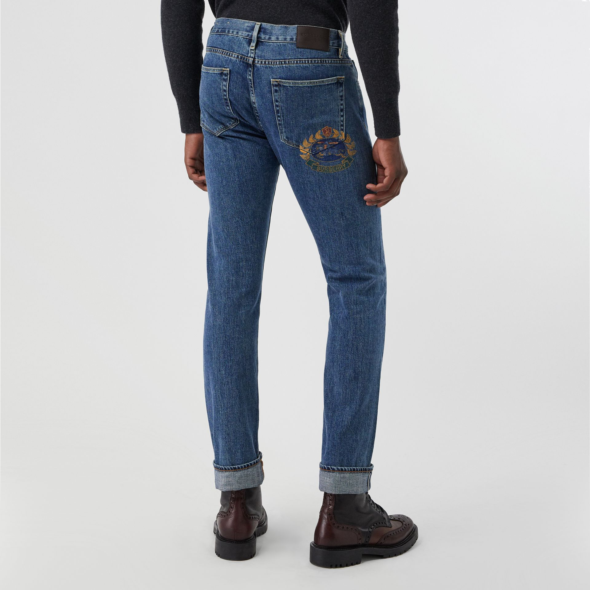 Straight Fit Stonewashed Jeans in Mid Indigo - Men | Burberry - gallery image 2