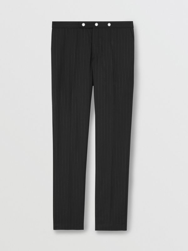 Classic Fit Pinstriped Wool Tailored Trousers in Black - Men | Burberry Hong Kong - cell image 3