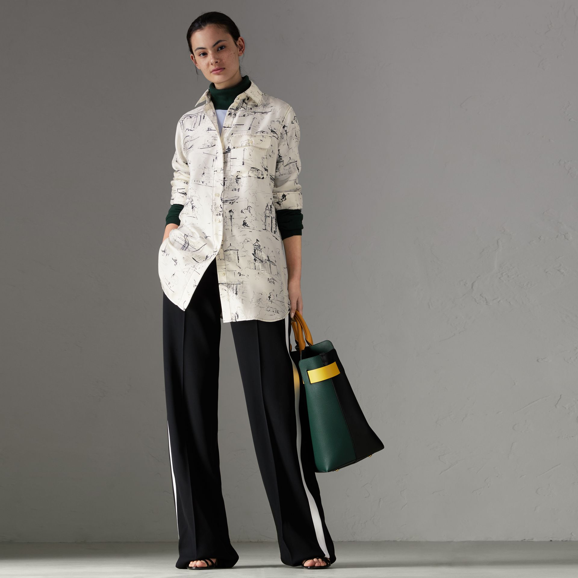 Landmark Print Silk Longline Shirt in Off White - Women | Burberry - gallery image 0