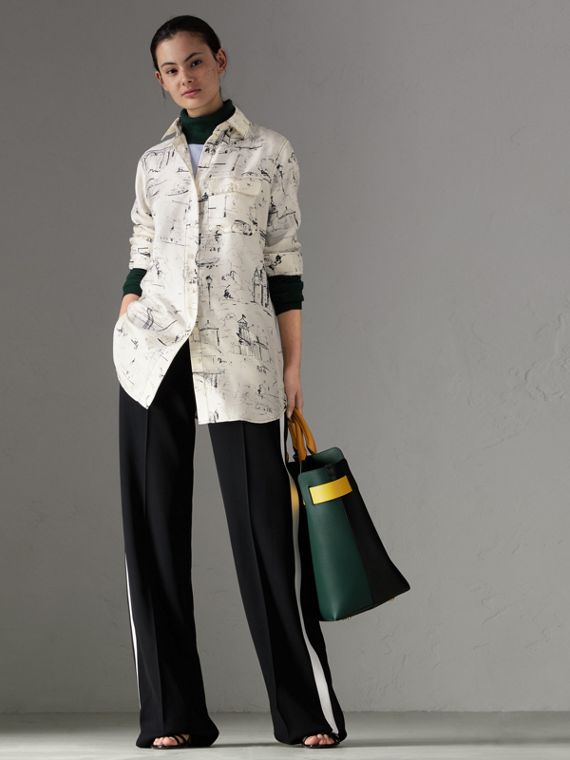 Landmark Print Silk Longline Shirt in Off White