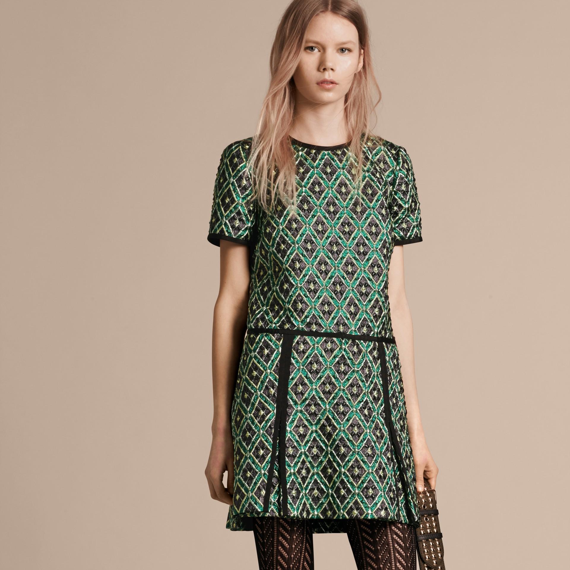 Deep green Patchwork Check Jacquard Dress - gallery image 7