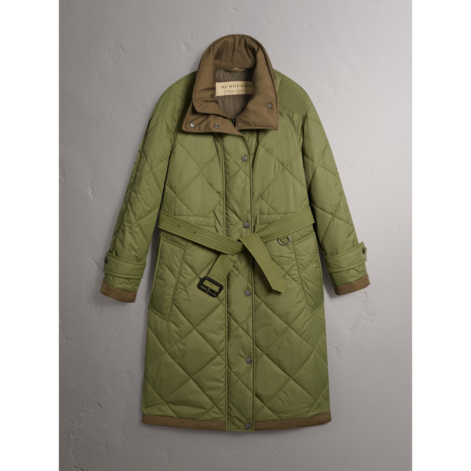 Packaway Hood Diamond Quilted Coat in Olive Green - Women | Burberry Singapore - gallery image 3