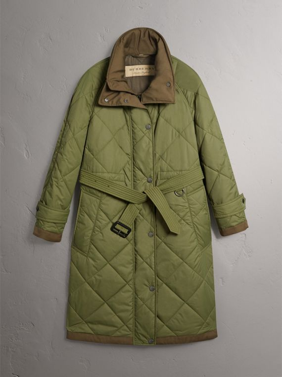 Packaway Hood Diamond Quilted Coat in Olive Green - Women | Burberry - cell image 3