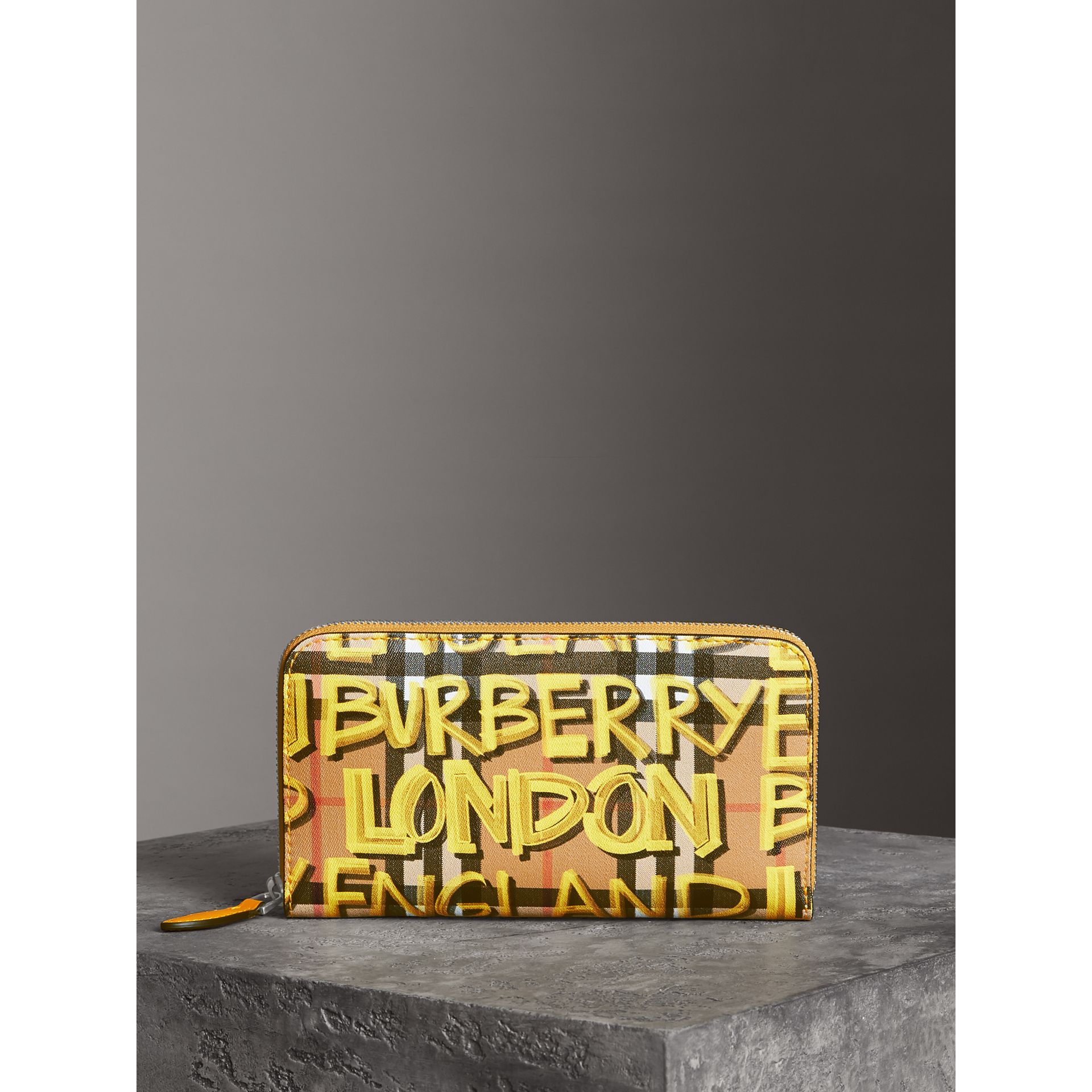 Graffiti Print Vintage Check Leather Ziparound Wallet in Yellow - Women | Burberry - gallery image 4