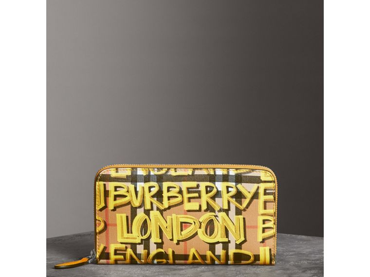Graffiti Print Vintage Check Leather Ziparound Wallet in Yellow - Women | Burberry - cell image 4