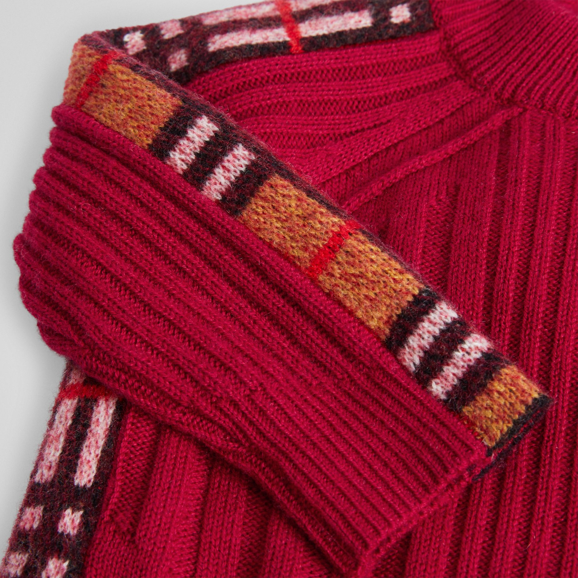 Check Detail Wool Cashmere Dress in Burgundy Red - Children | Burberry United Kingdom - gallery image 1