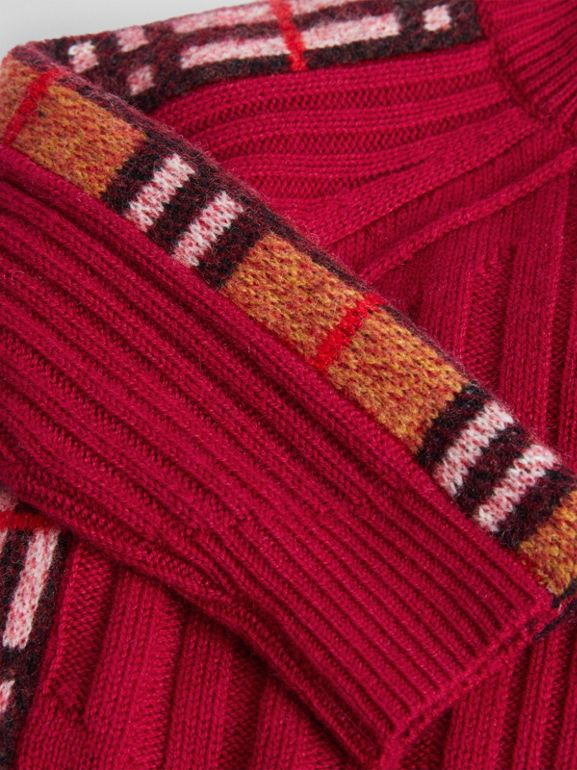 Check Detail Wool Cashmere Dress in Burgundy Red - Children | Burberry United Kingdom - cell image 1
