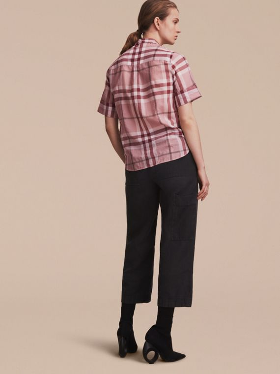 Short-sleeve Check Cotton Tie Neck Shirt Antique Pink - cell image 2