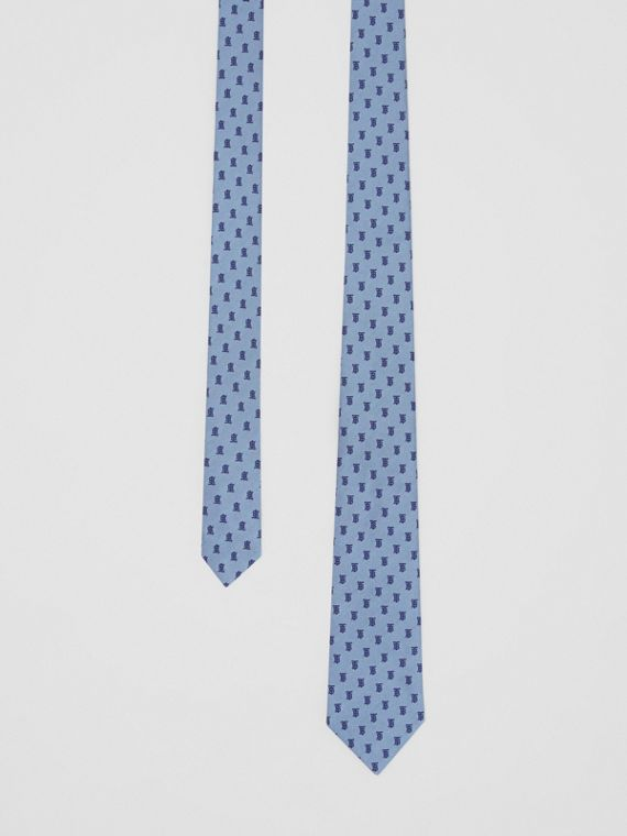 Classic Cut Monogram Silk Jacquard Tie in Pale Blue