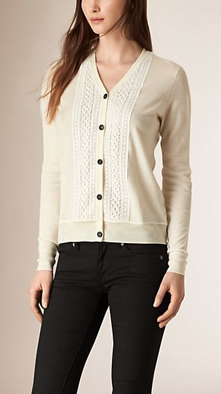 Lace Trim Merino Wool Cardigan