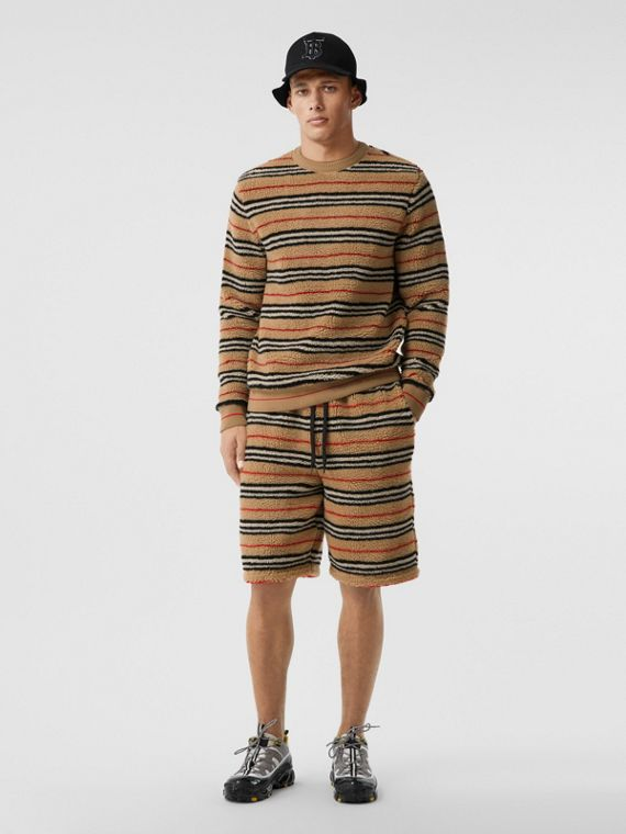 Icon Stripe Fleece Sweatshirt in Archive Beige