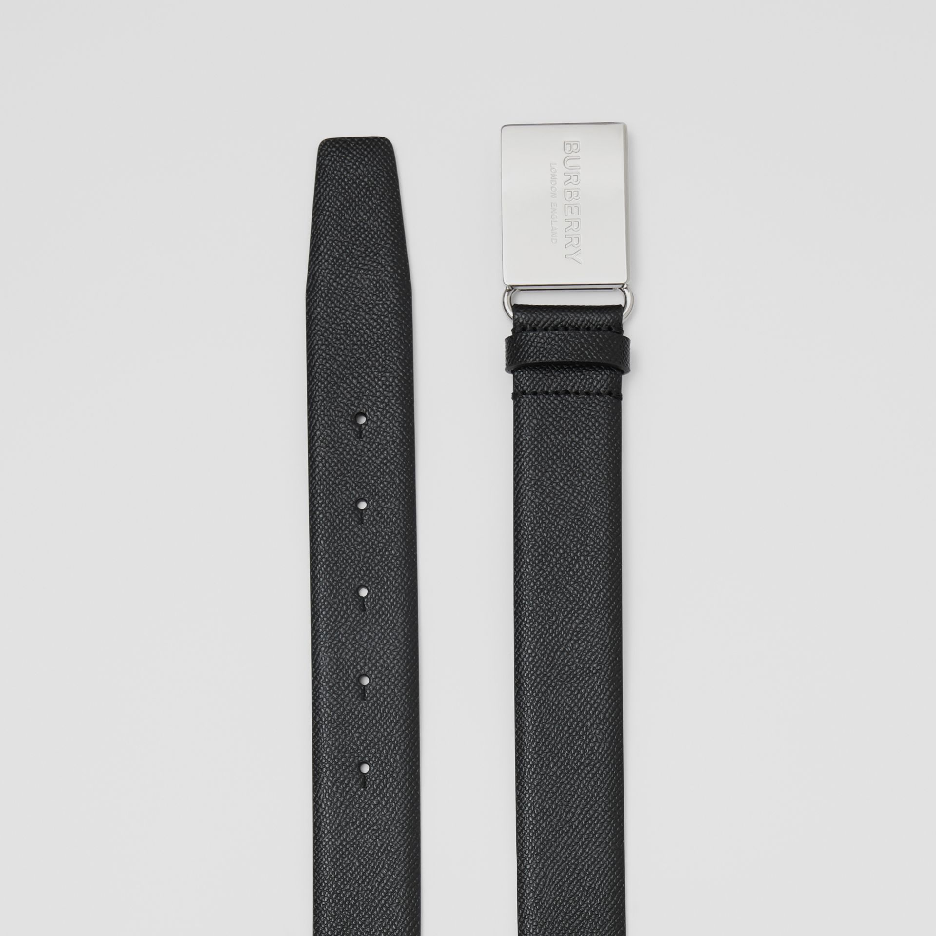 Plaque Buckle Grainy Leather Belt in Black - Men | Burberry Australia - gallery image 5