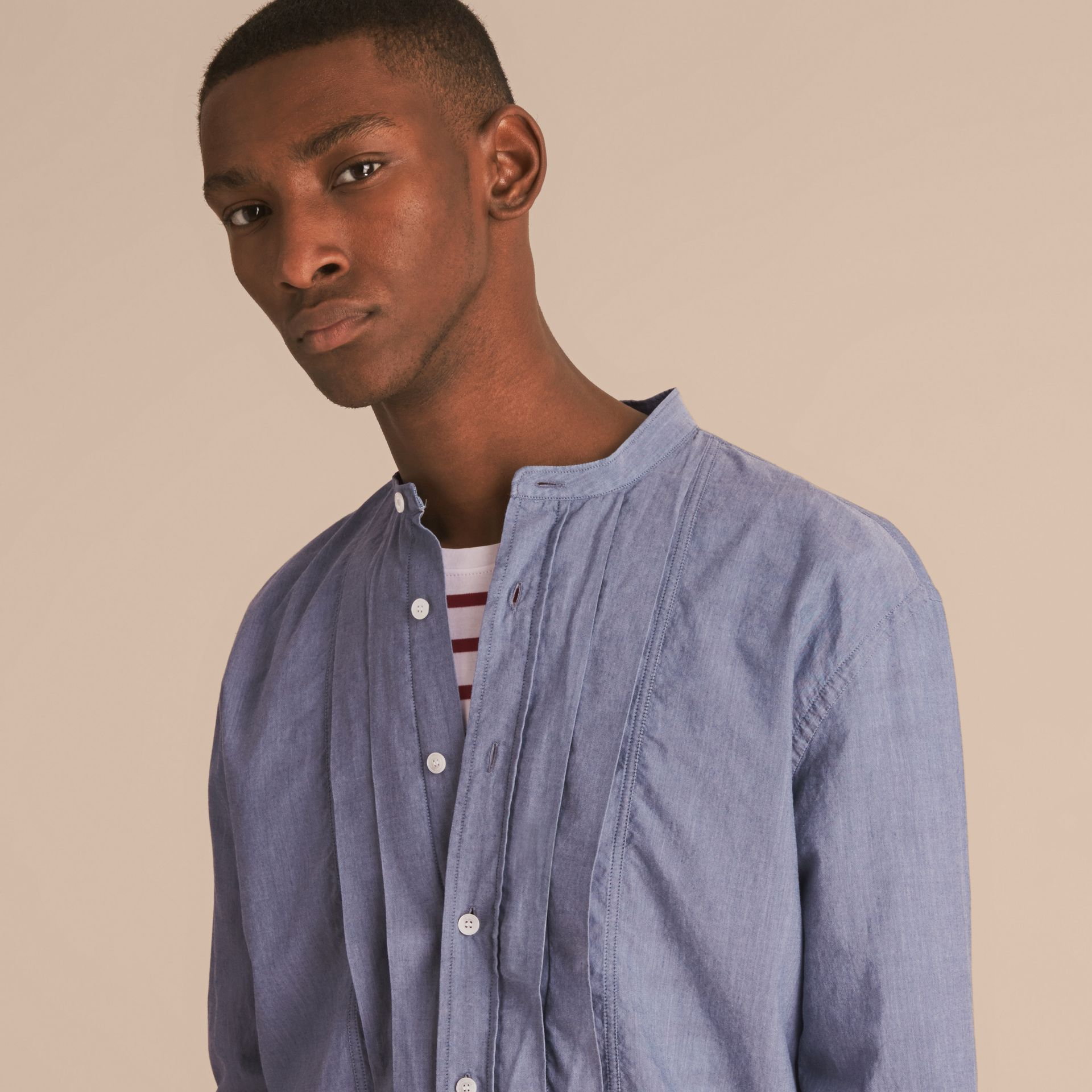 Grandad Collar Pleated Bib Cotton Shirt - gallery image 3