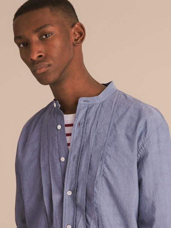 Grandad Collar Pleated Bib Cotton Shirt - cell image 2