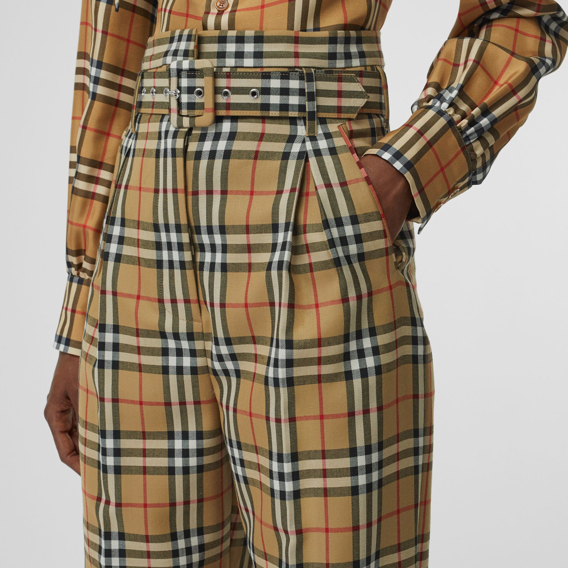 Vintage Check Wool High-waisted Trousers in Antique Yellow - Women | Burberry - gallery image 5