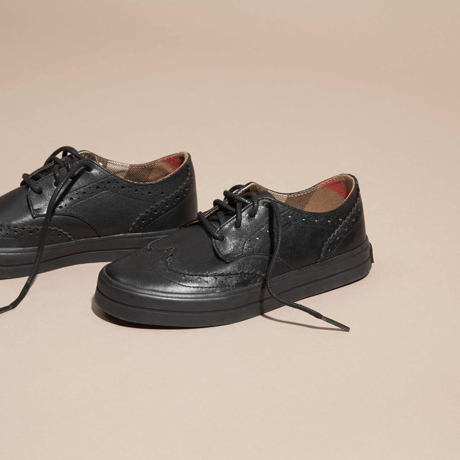 Black Leather Brogue-detail Trainers - gallery image 3