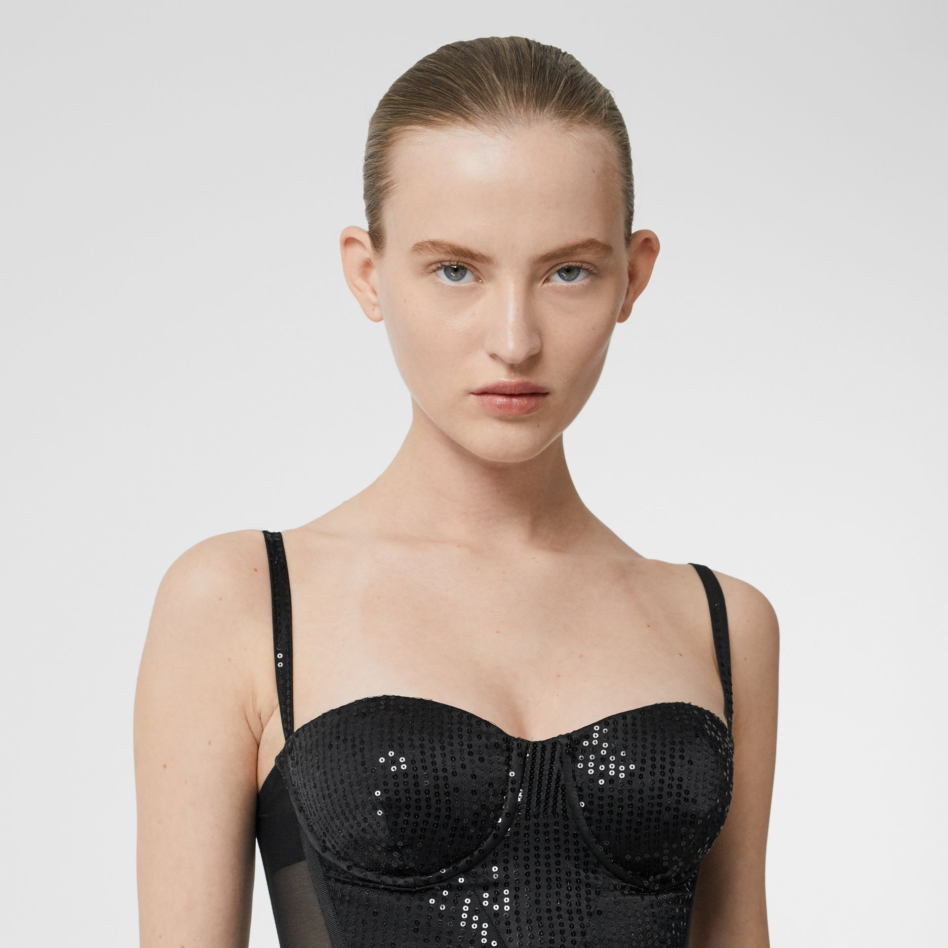 Mesh Panel Sequinned Bodice in Black - Women | Burberry United Kingdom - gallery image 5