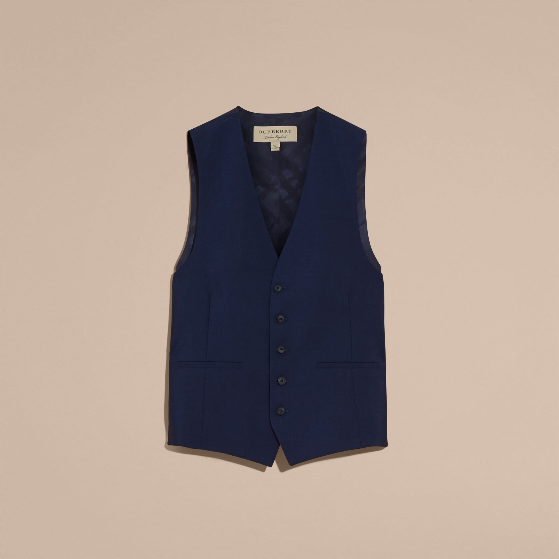 Slim Fit Wool Mohair Waistcoat in Navy - Men | Burberry United States - gallery image 3
