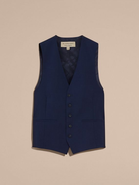 Slim Fit Wool Mohair Waistcoat in Navy - Men | Burberry United States - cell image 3