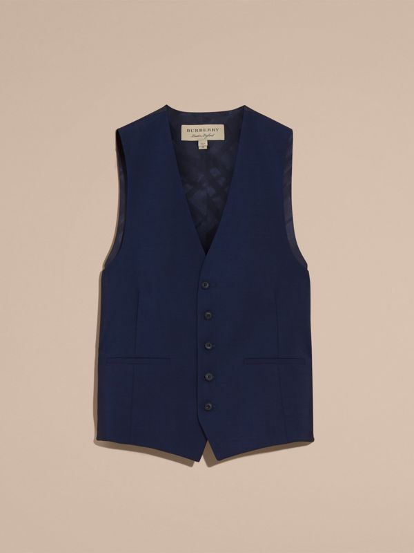 Slim Fit Wool Mohair Waistcoat in Navy - Men | Burberry - cell image 3
