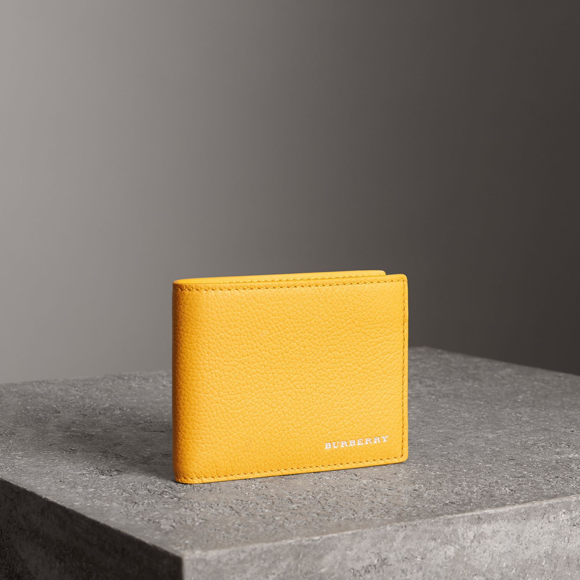 Grainy Leather Bifold Wallet in Bright Ochre Yellow - Men | Burberry Australia - gallery image 0