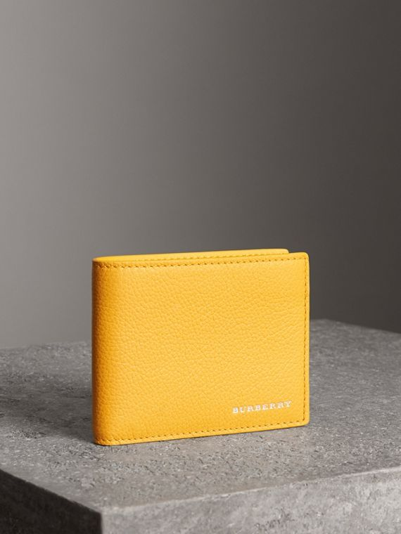 Grainy Leather Bifold Wallet in Bright Ochre Yellow