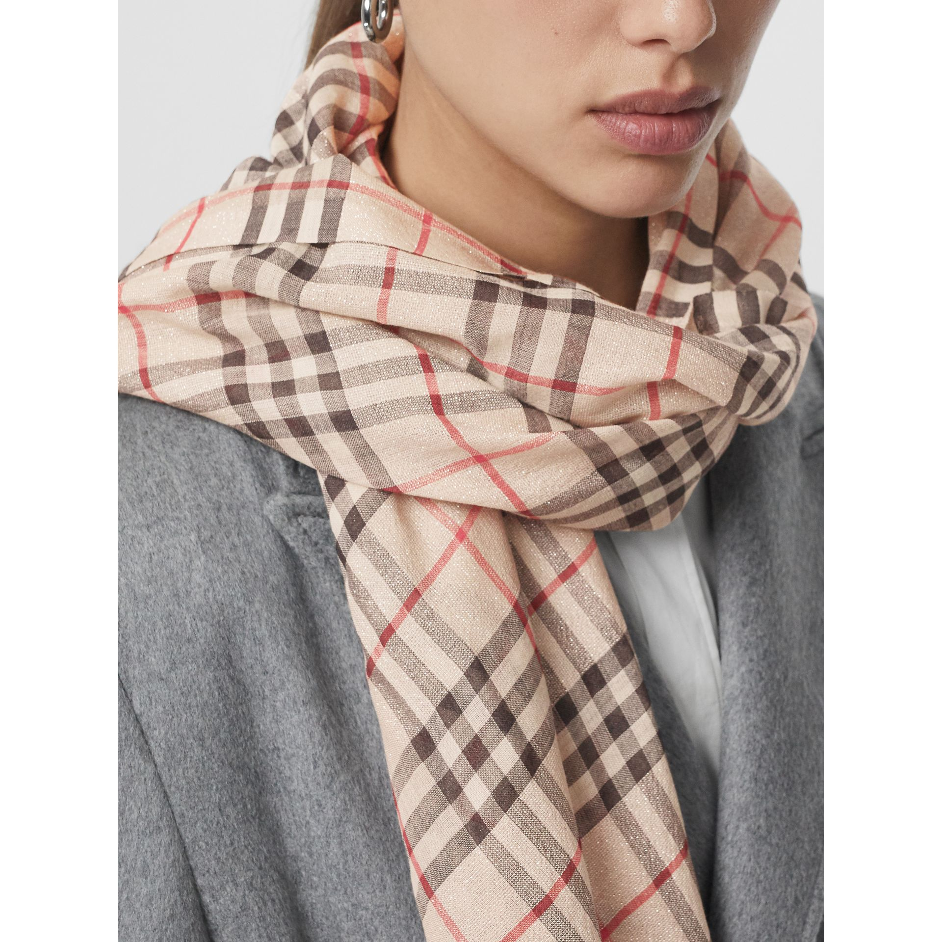 Metallic Vintage Check Wool Silk Blend Scarf in Stone | Burberry - gallery image 3