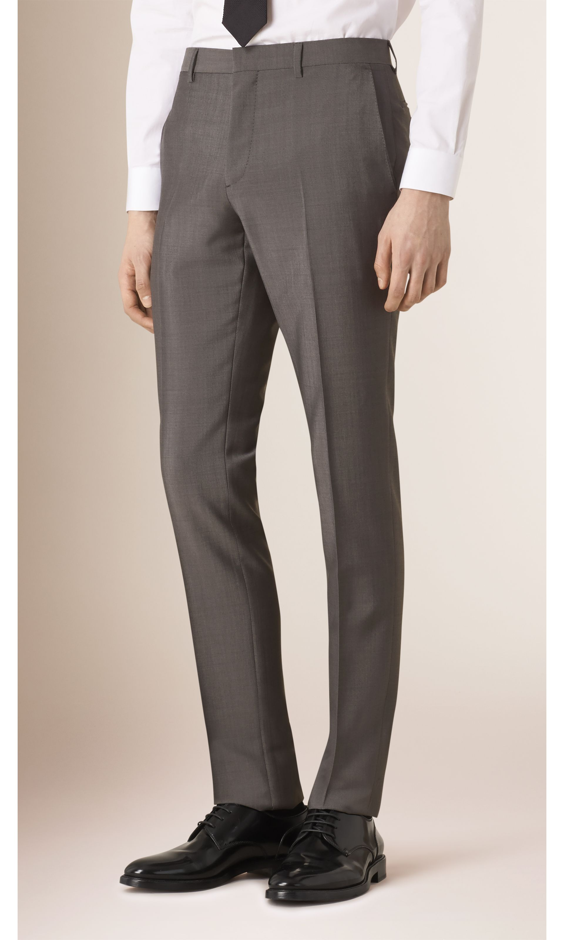Mid grey Slim Fit Wool Mohair Part-canvas Suit Mid Grey - gallery image 5