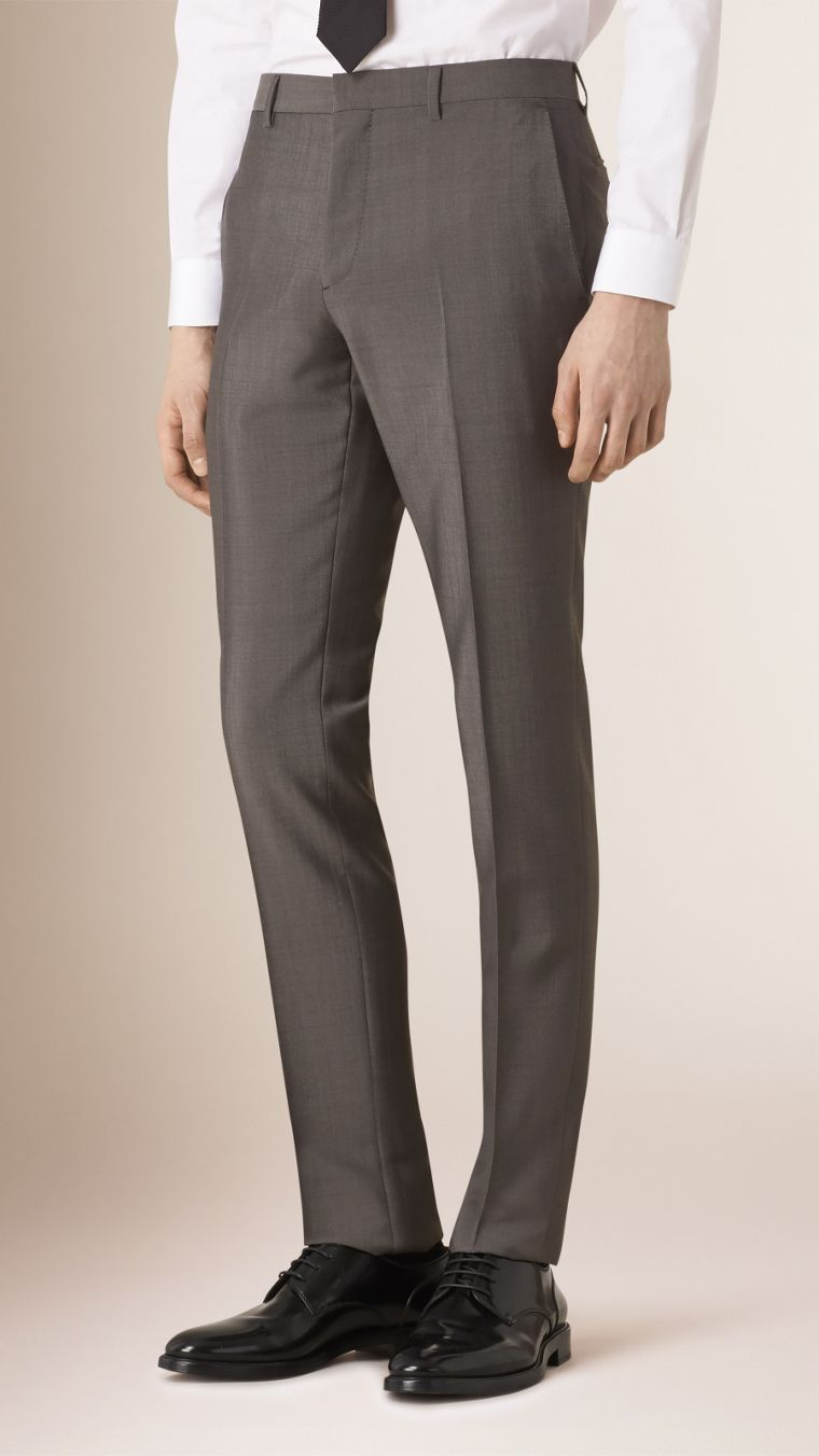 Mid grey Slim Fit Wool Mohair Part-canvas Suit - cell image 4
