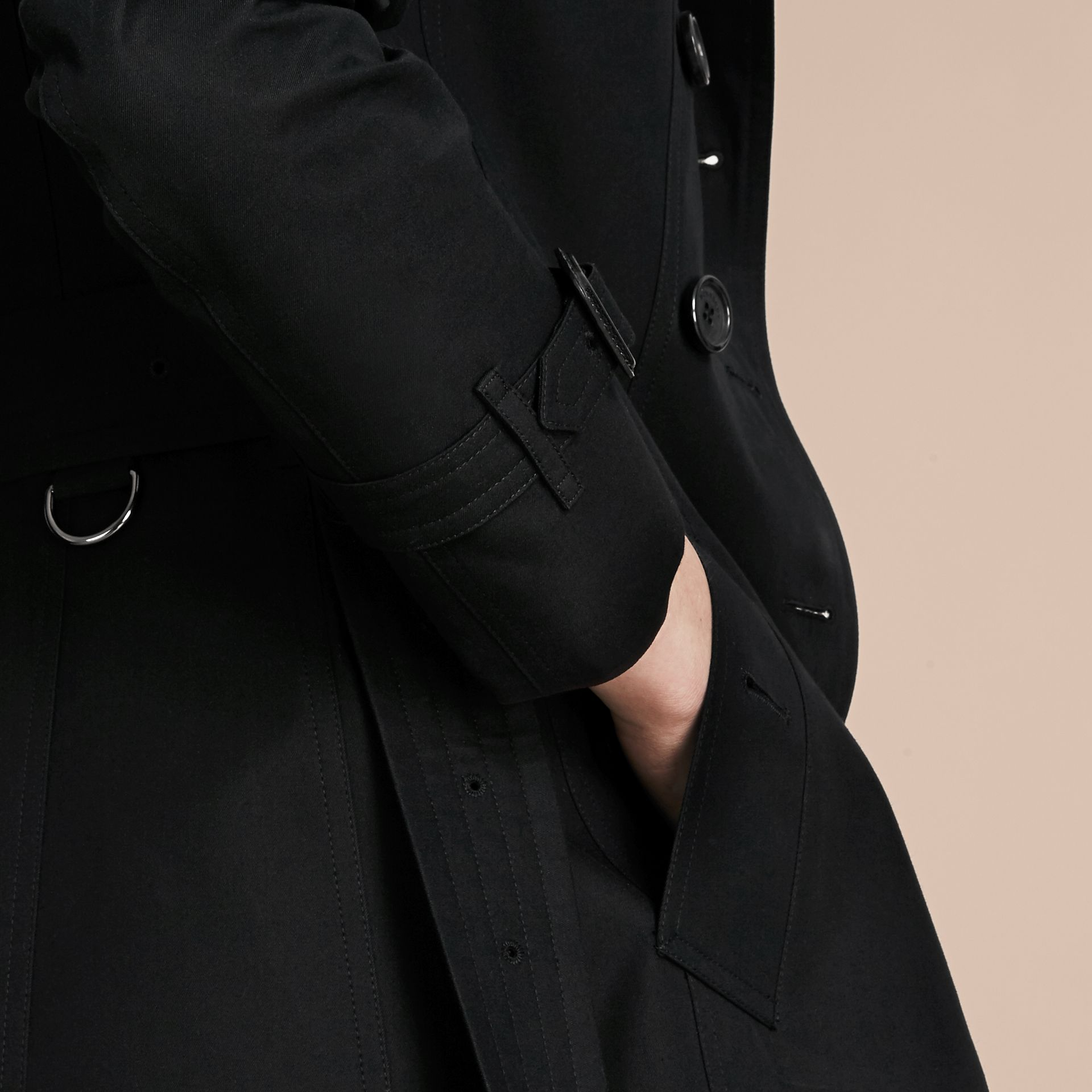 Black The Chelsea – Short Heritage Trench Coat Black - gallery image 7