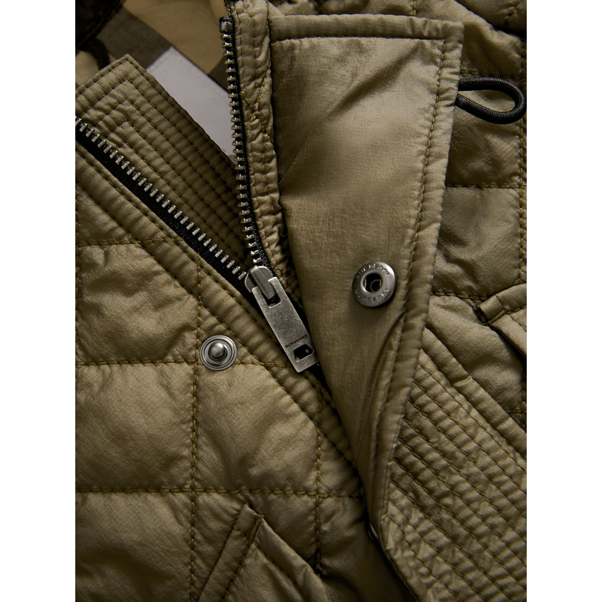 Hooded Diamond Quilted Jacket in Olive | Burberry - gallery image 1